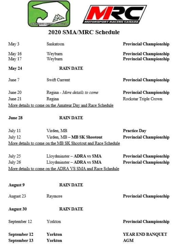 2020 Provincial Motocross Schedule